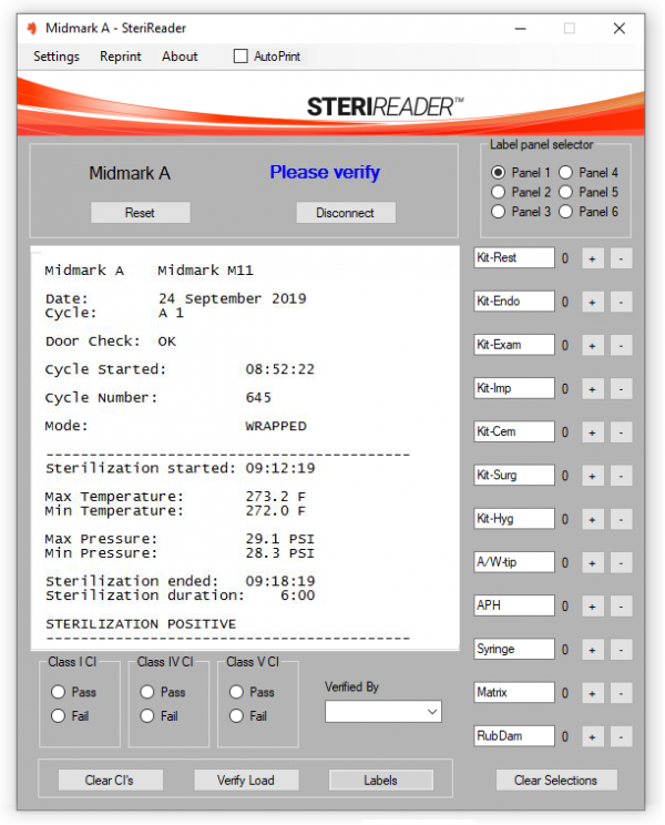 Automated sterilizer cycle logging